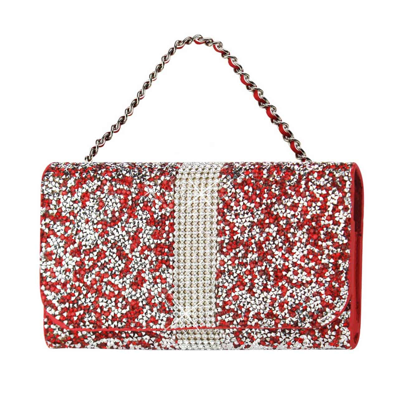 HORIZONTAL DIAMONDS POUCH IPHONE 6 PLUS/ 6S PLUS/ 7 PLUS/ SAMSUNG GALAXY S8 EDGE IN RED (6.62X3.46X0.68 INCHES PLUS)