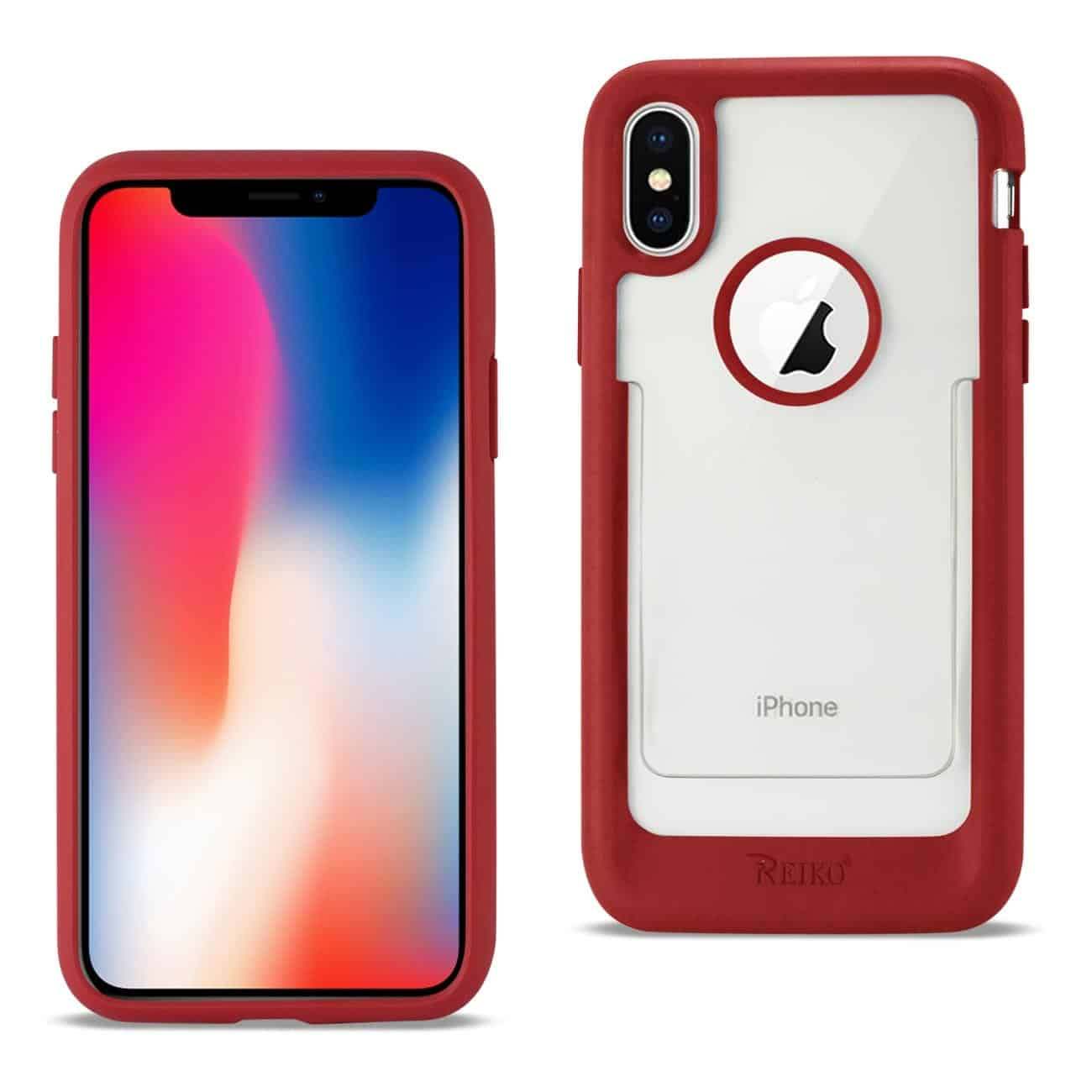 iPhone X Belt Clip Polymer Case In Clear Red