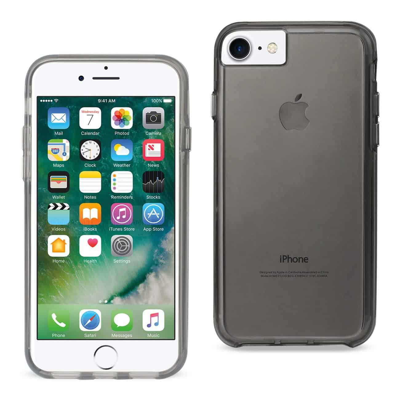 IPHONE 7 TRANSPARENT TPU HARD PROTECTOR COVER WITH INNER EXTRA BUMPER IN CLEAR GRAY