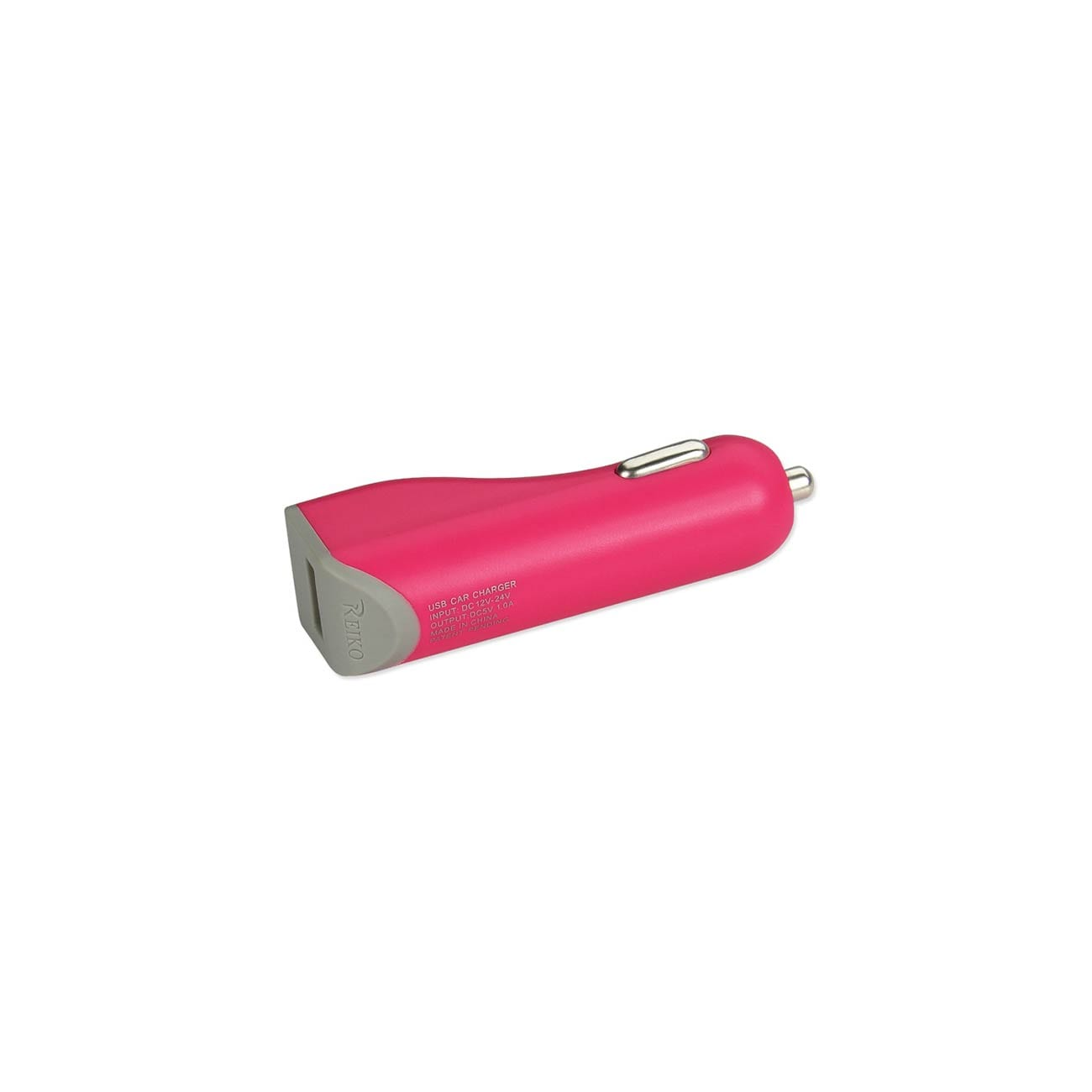 MICRO USB CAR CHARGER WITH DATA USB CABLE IN HOT PINK