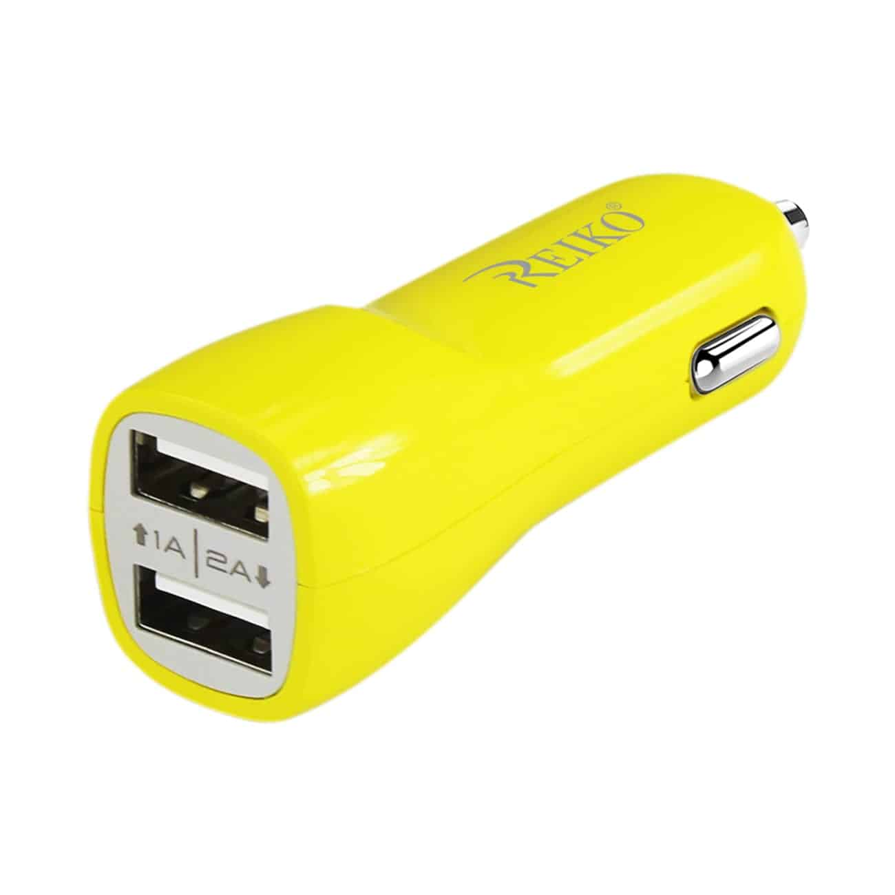 MICRO USB 2 AMP DUAL USB PORTS CAR CHARGER IN YELLOW