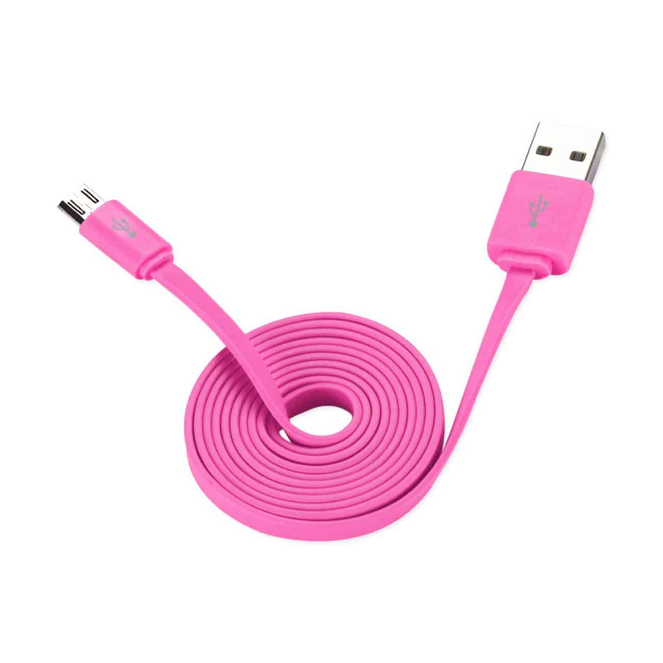 FLAT MICRO USB DATA CABLE 3.2FT IN PINK