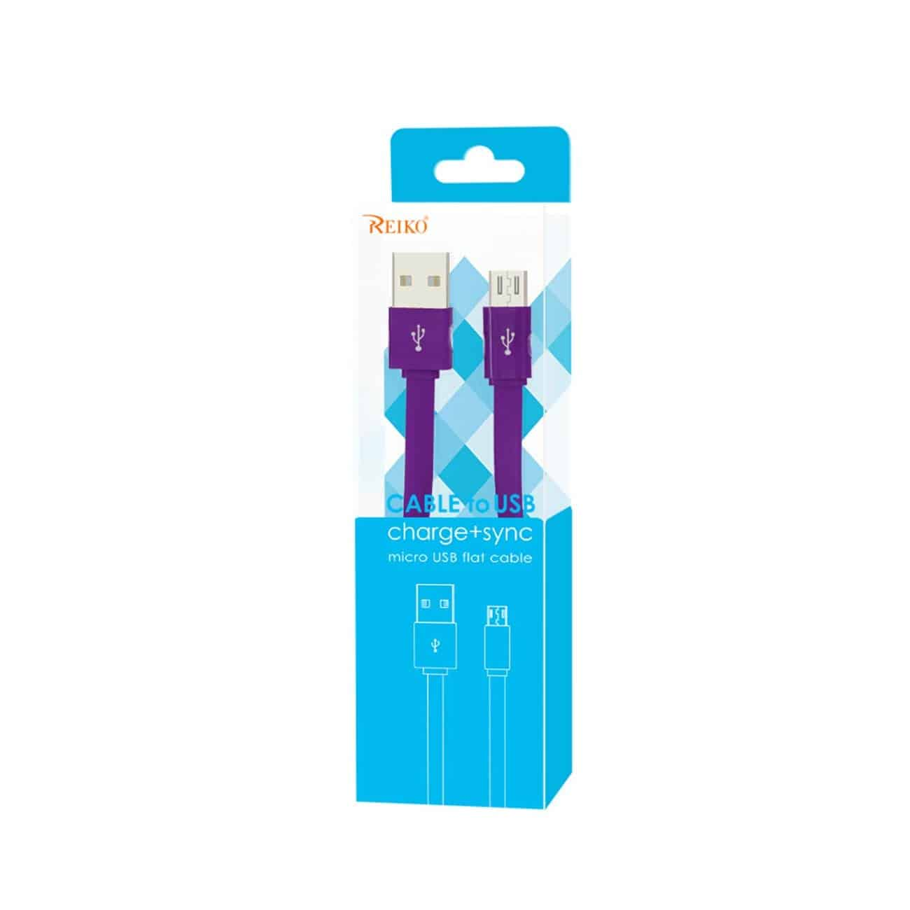 FLAT MICRO USB DATA CABLE 3.2FT IN PURPLE