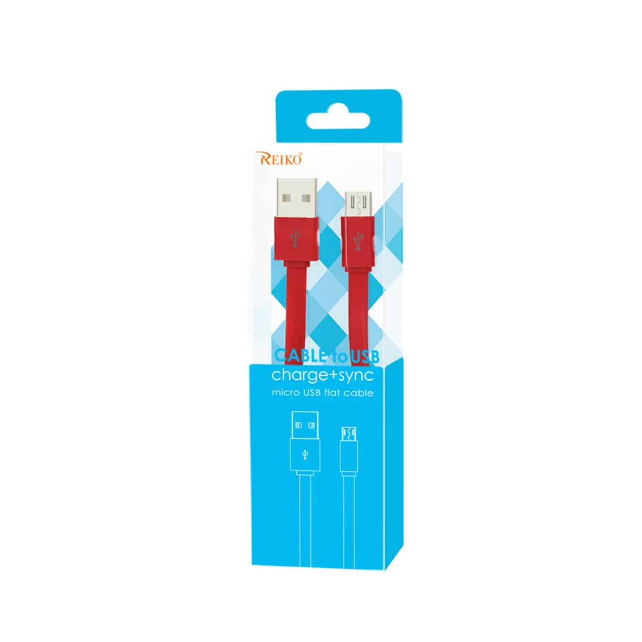 FLAT MICRO USB DATA CABLE 3.2FT IN RED