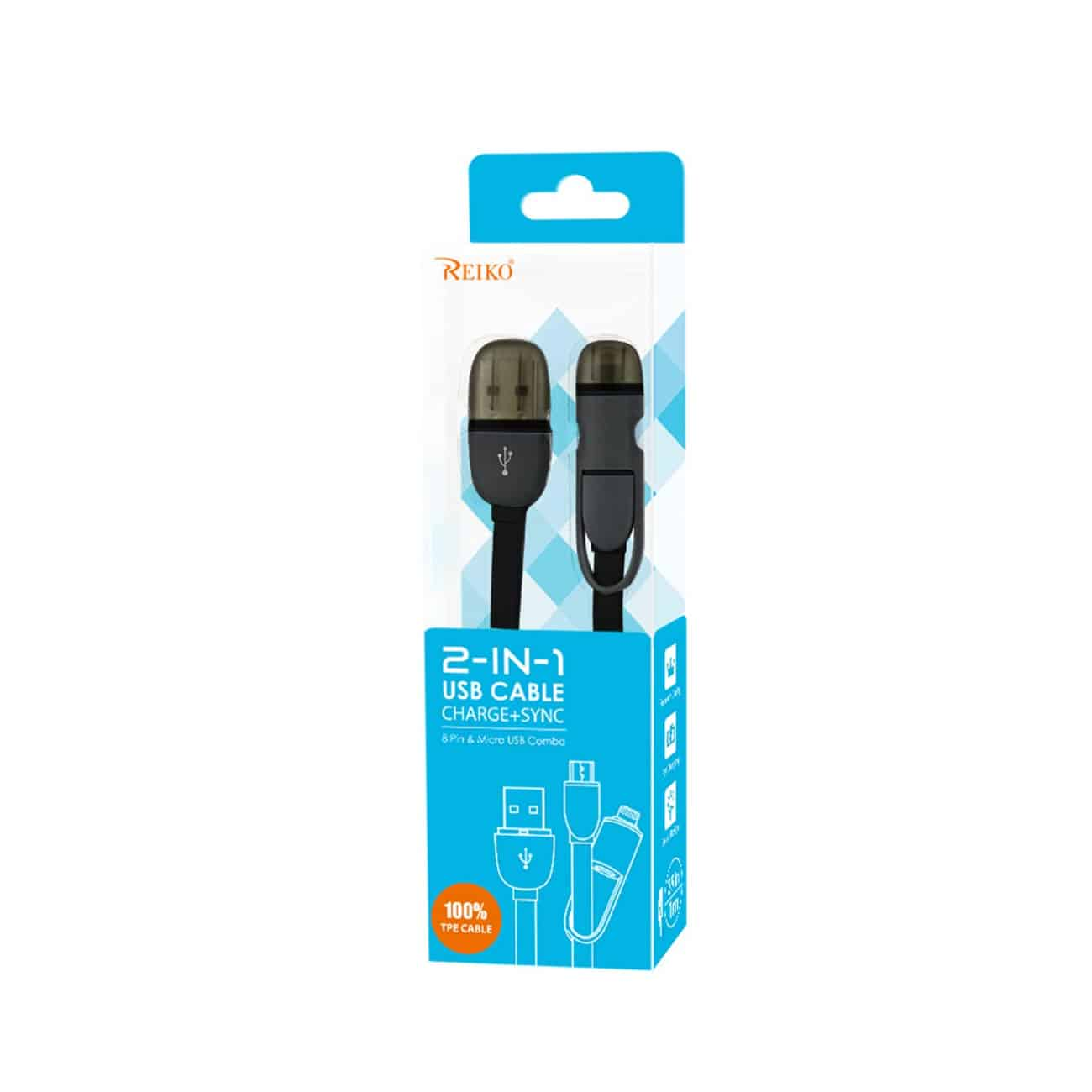 IPHONE 6 AND MICRO USB FLAT CABLE 3.2FT 2-IN-1 USB DATA IN BLACK