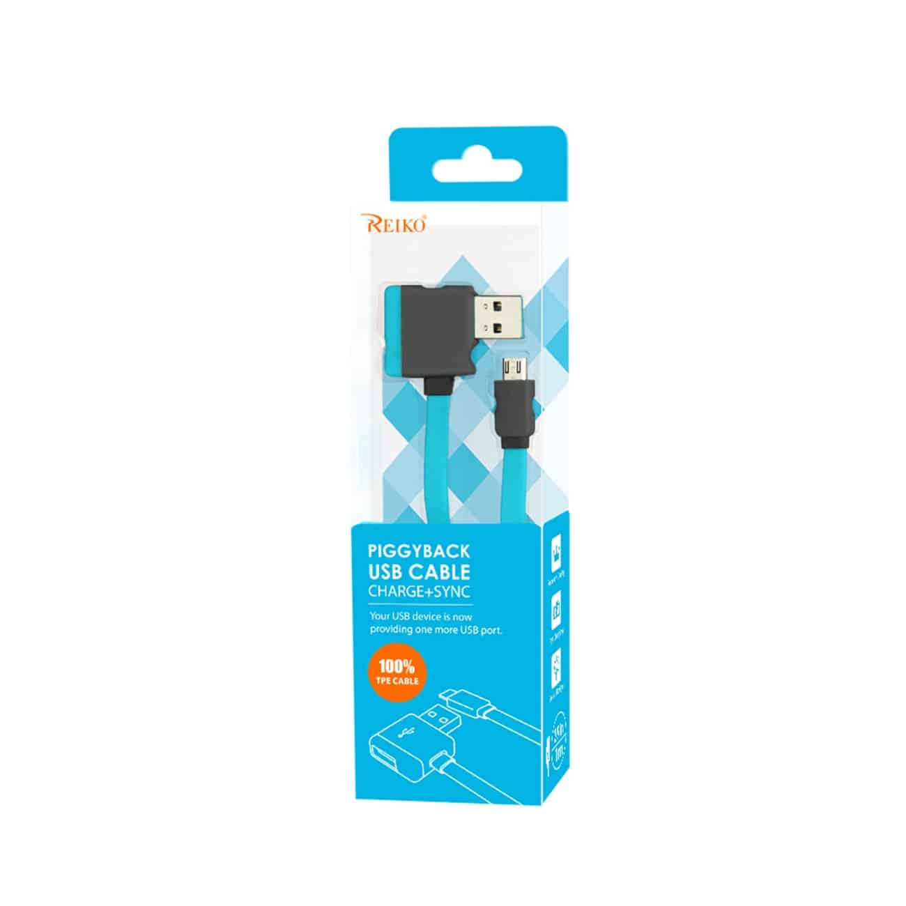 MICRO USB PIGGYBACK FLAT LIBERATOR USB CABLE 3.2FT IN BLUE