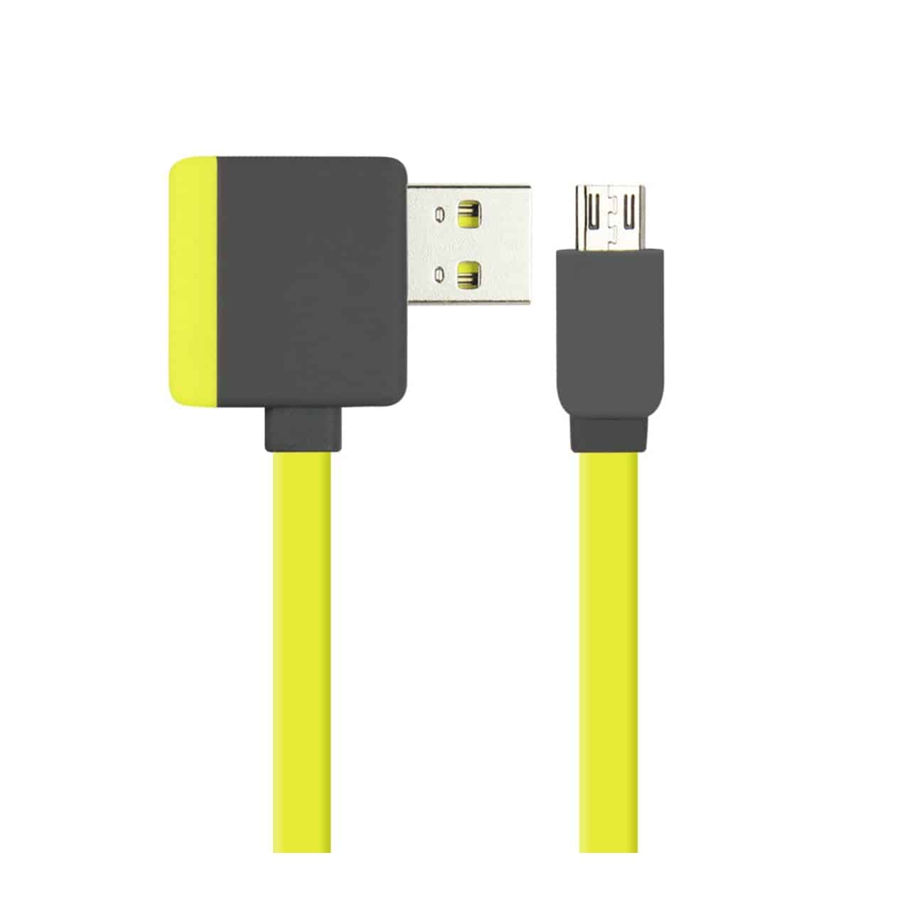 MICRO USB PIGGYBACK FLAT LIBERATOR USB CABLE 3.2FT IN YELLOW