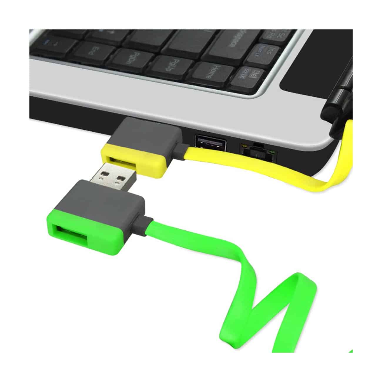 MICRO USB PIGGYBACK FLAT LIBERATOR USB CABLE 3.2FT IN YELLOW
