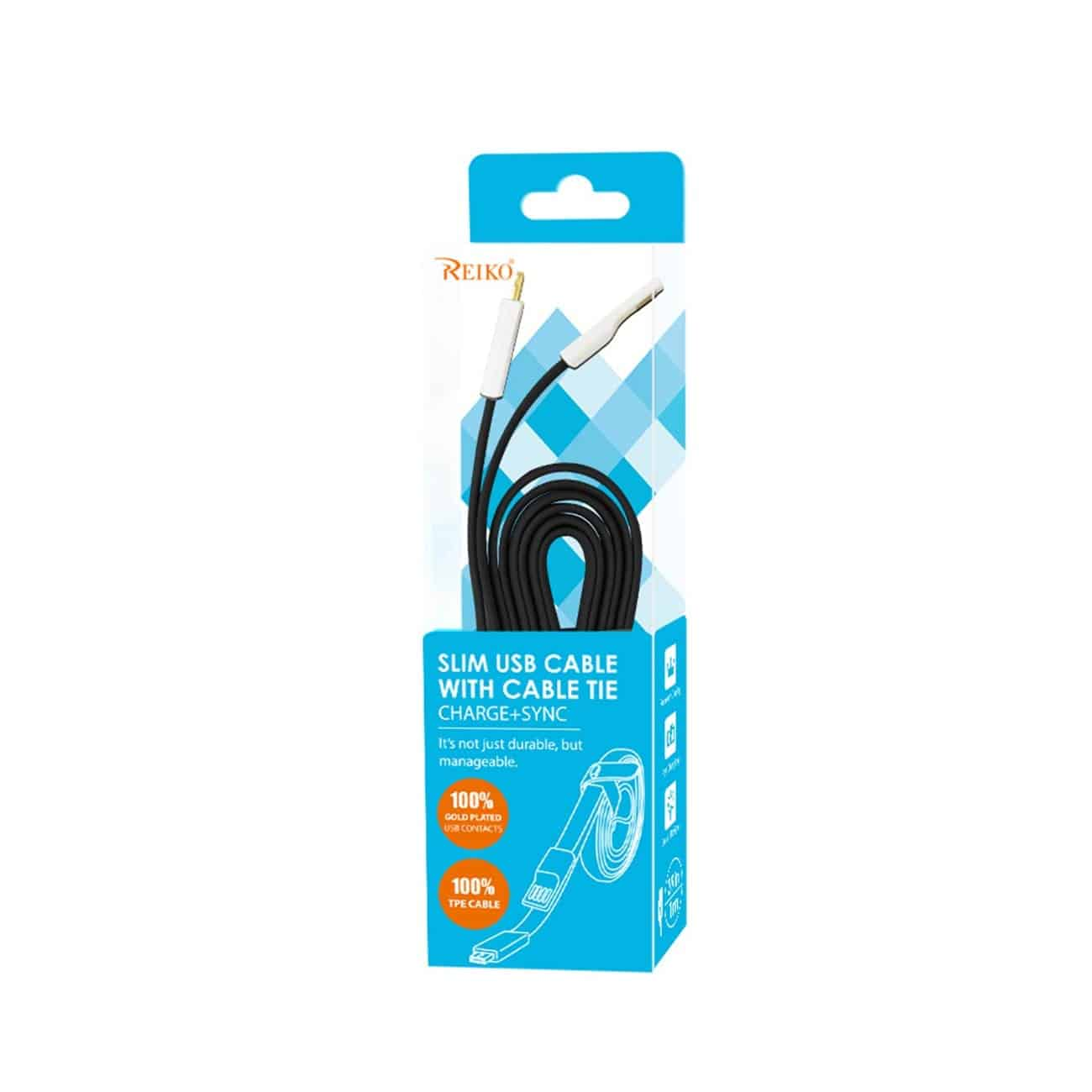 FLAT MICRO USB GOLD PLATED DATA CABLE 3.9FT WITH CABLE TIE IN BLACK