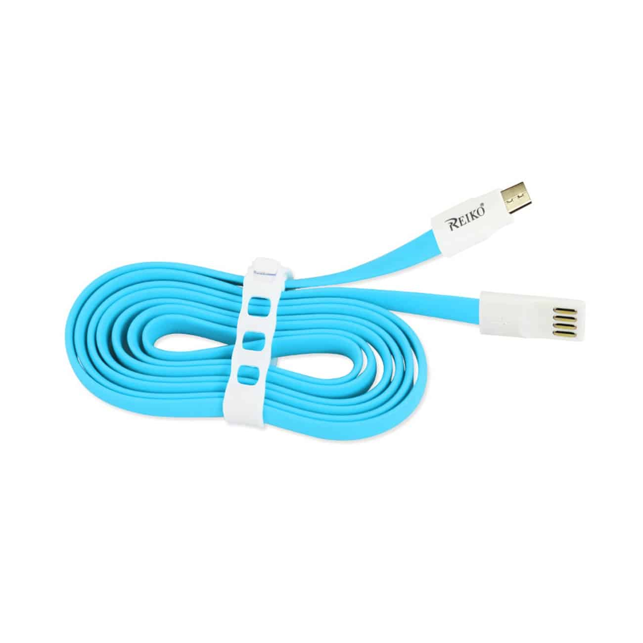 FLAT MICRO USB GOLD PLATED DATA CABLE 3.9FT WITH CABLE TIE IN BLUE
