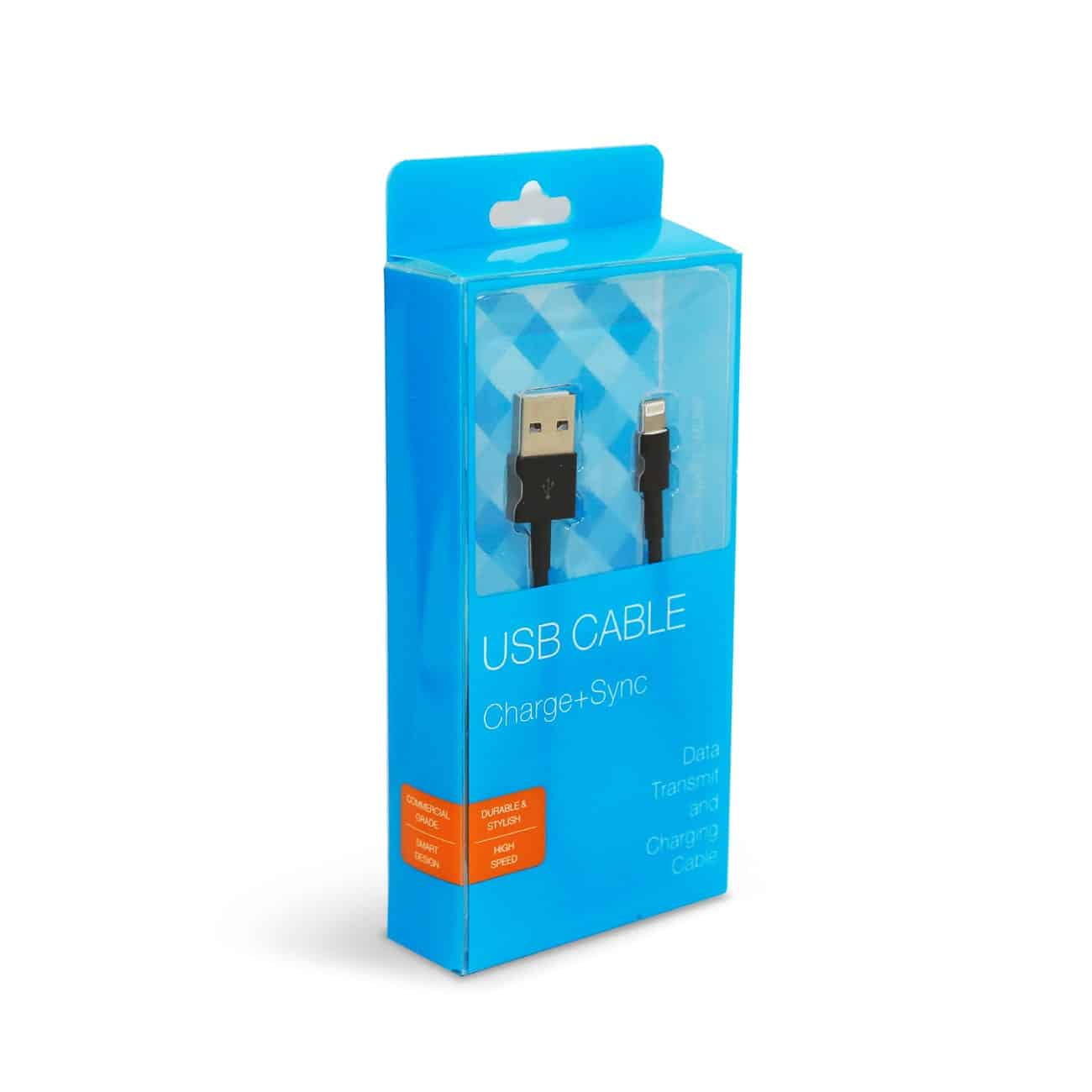 3.3FT PVC Material 8 PIN USB 2.0 Data Cable In Black And Luxury Packaging