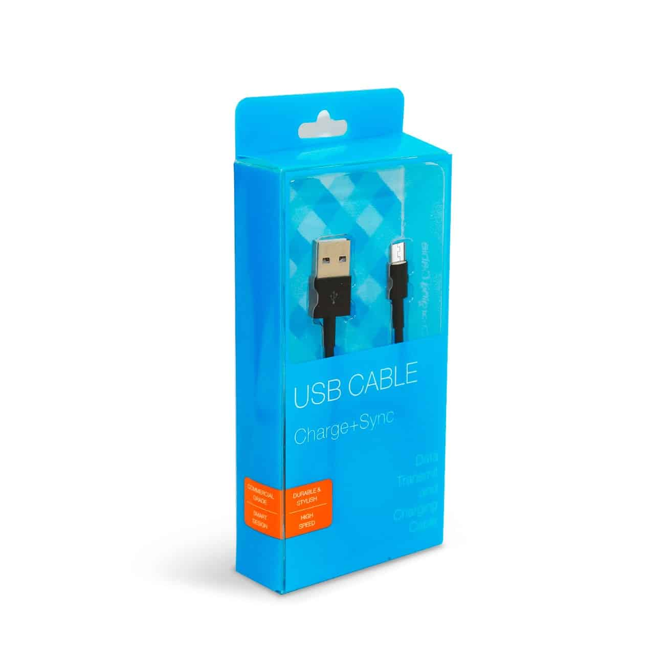 3.3FT PVC Material Micro USB 2.0 Data Cable In Black And Luxury Packaging