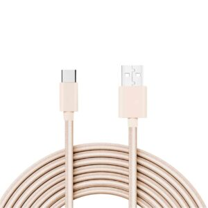 3.3FT Metal Connector & Nylon Braided Type C USB 2.0 Data Cable In Gold