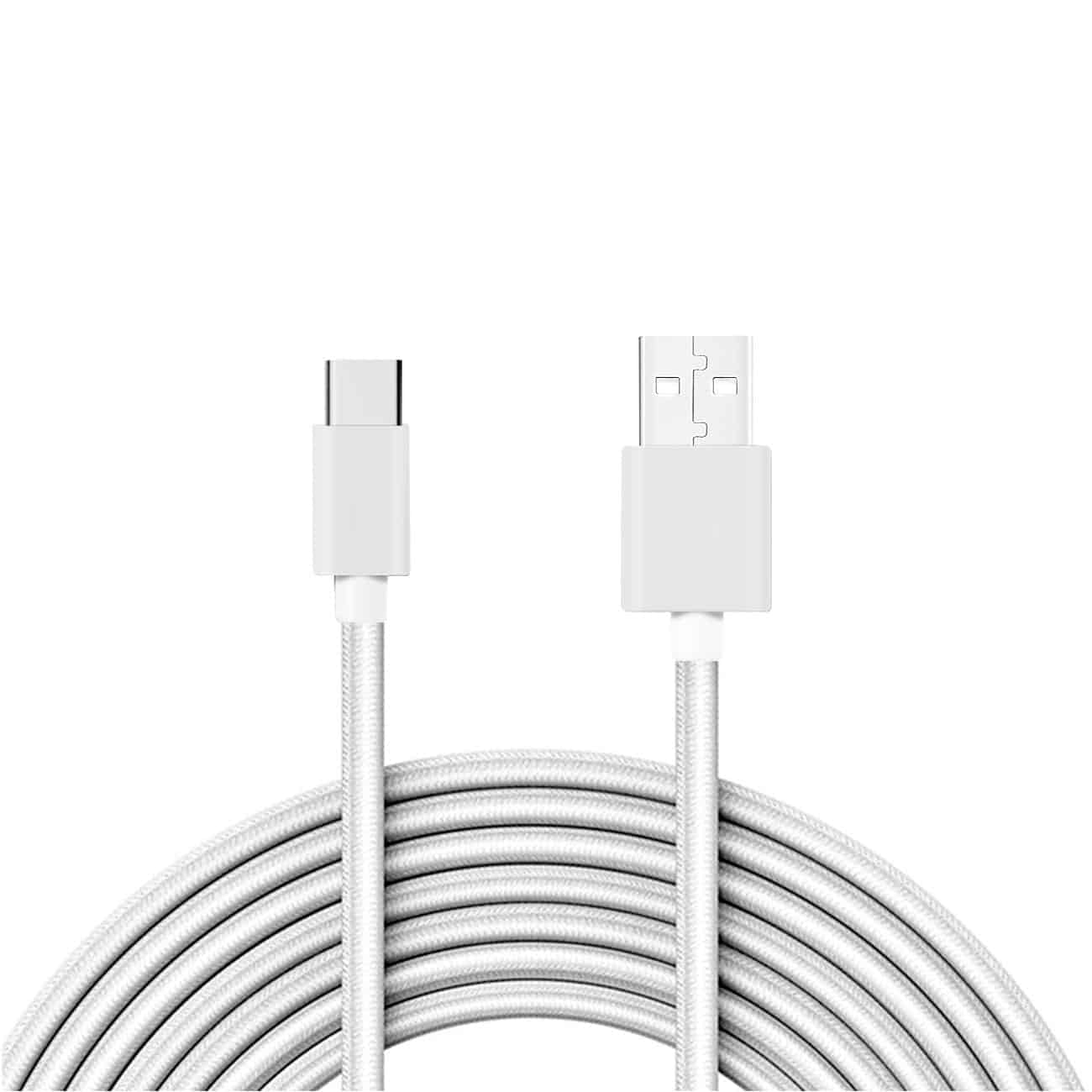 3.3FT Metal Connector & Nylon Braided Type C USB 2.0 Data Cable In White