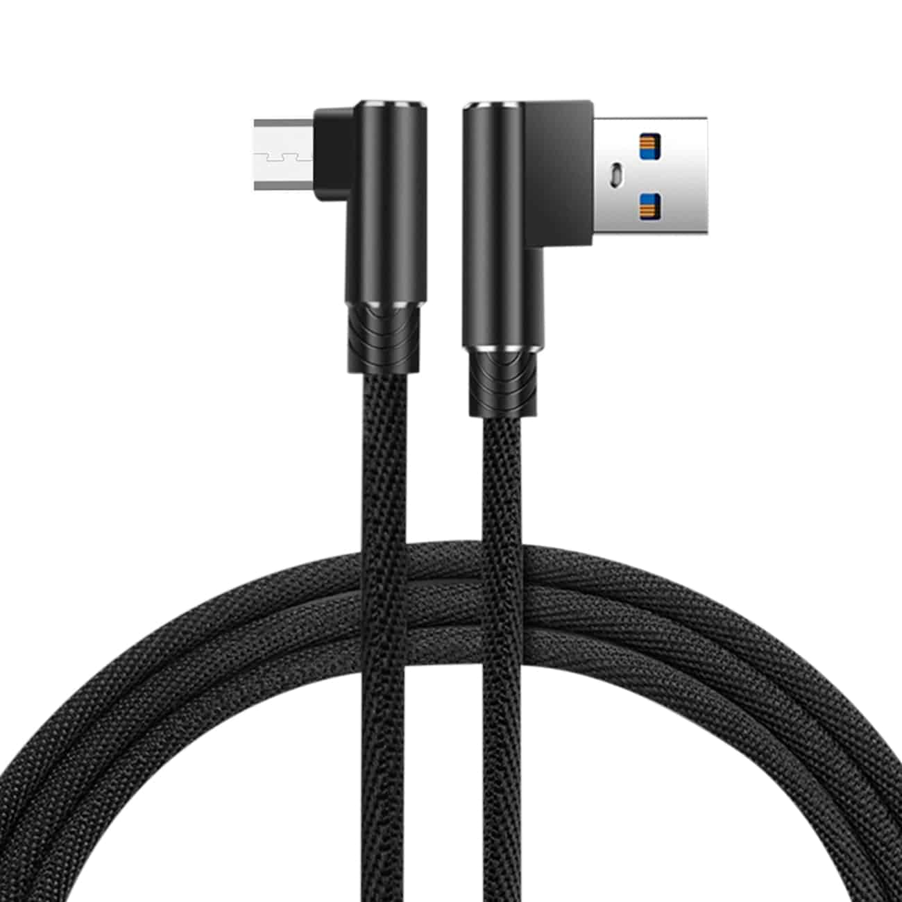 3.3FT Nylon braided Material Mircro USB 2.0 Data Cable In Black