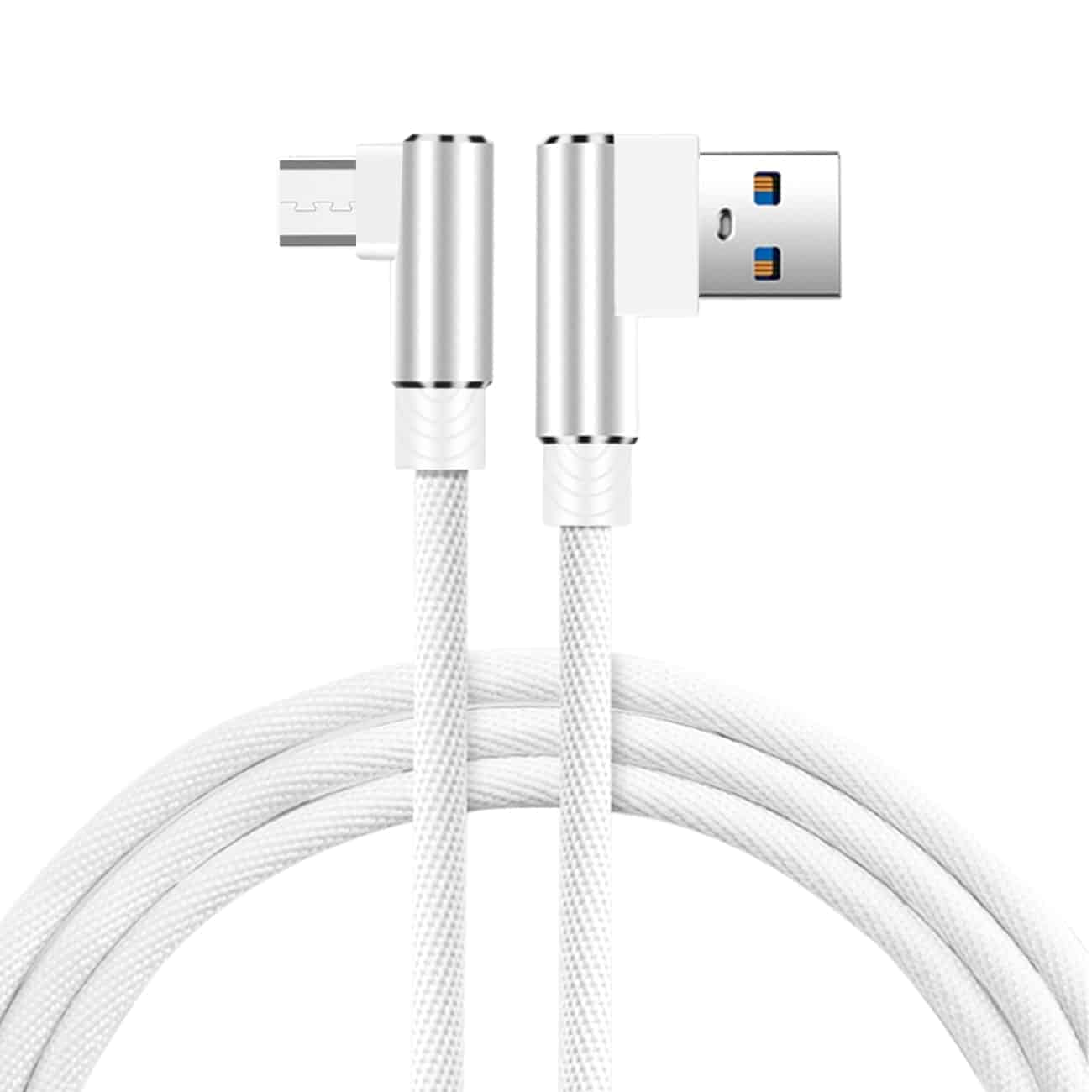 3.3FT Nylon braided Material Mircro USB 2.0 Data Cable In White