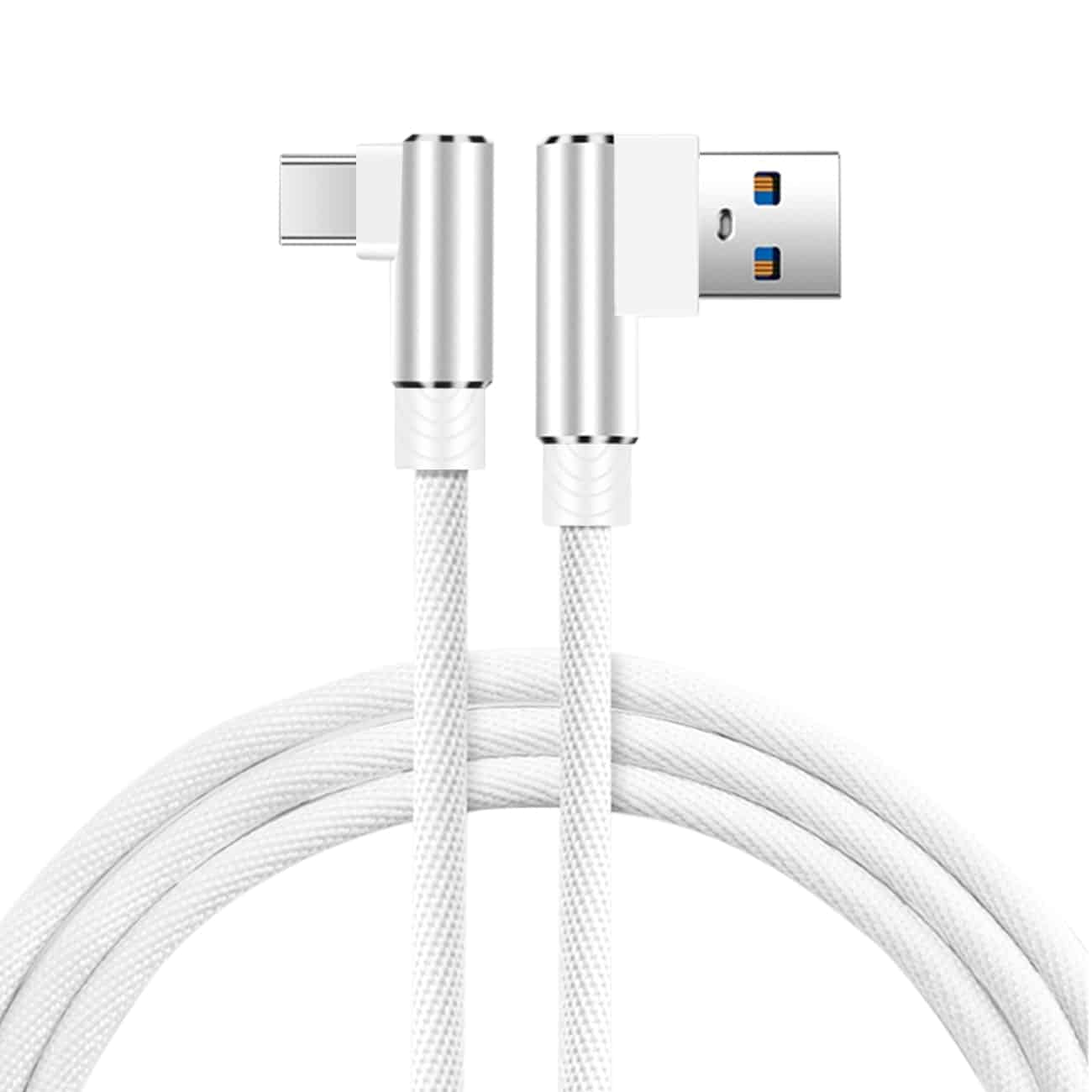 3.3FT Nylon braided Material Type C USB 2.0 Data Cable In White