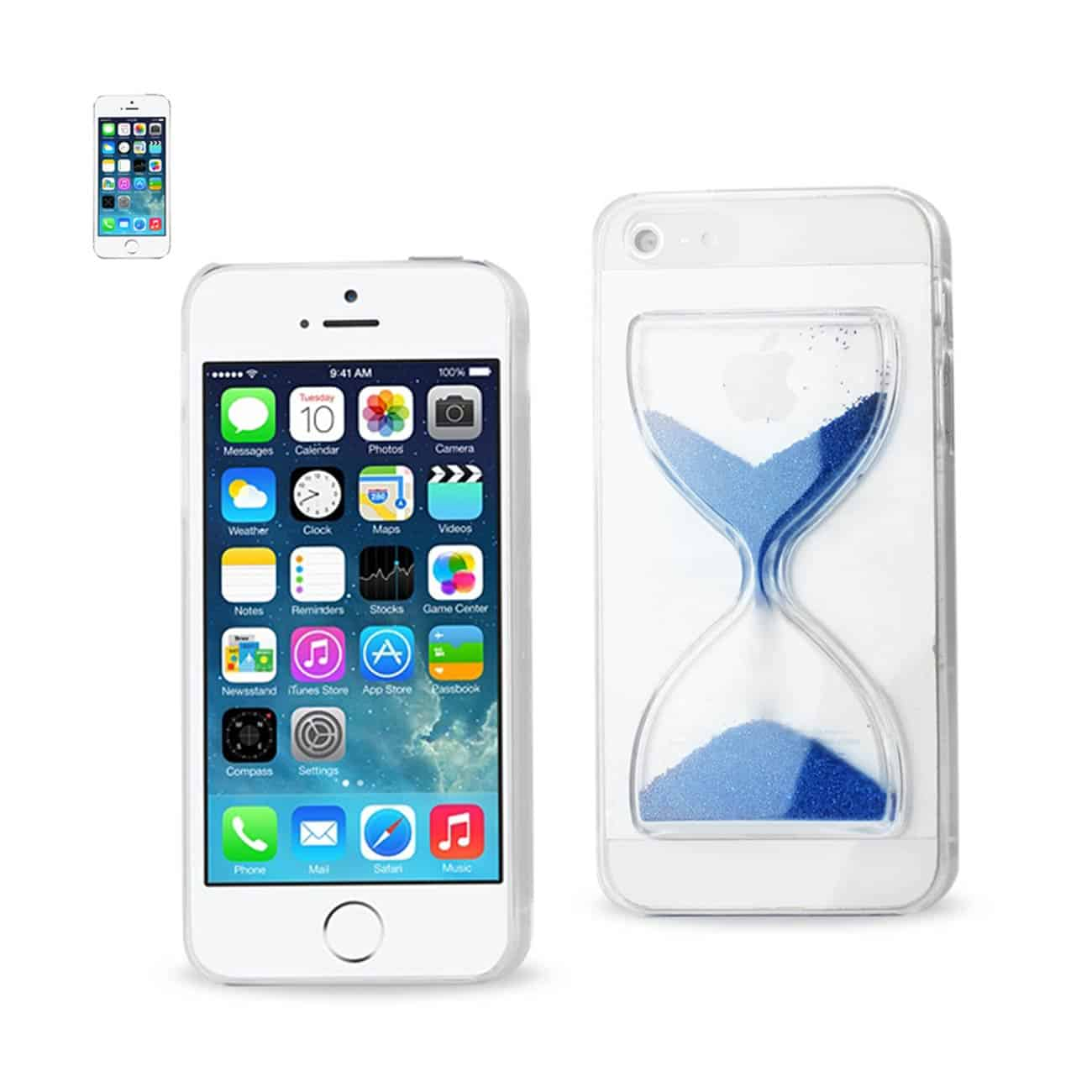 IPHONE SE/ 5S/ 5 3D SAND CLOCK CLEAR CASE IN NAVY