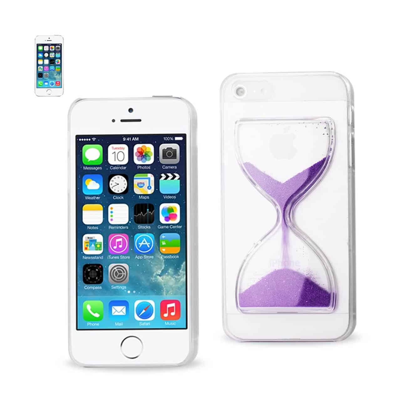 IPHONE SE/ 5S/ 5 3D SAND CLOCK CLEAR CASE IN PURPLE