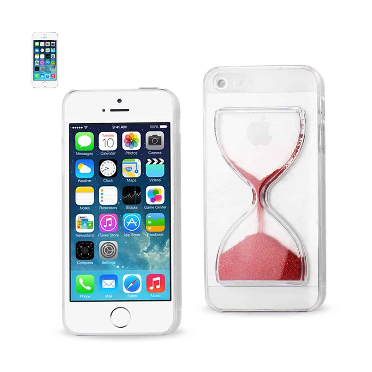IPHONE SE/ 5S/ 5 3D SAND CLOCK CLEAR CASE IN RED