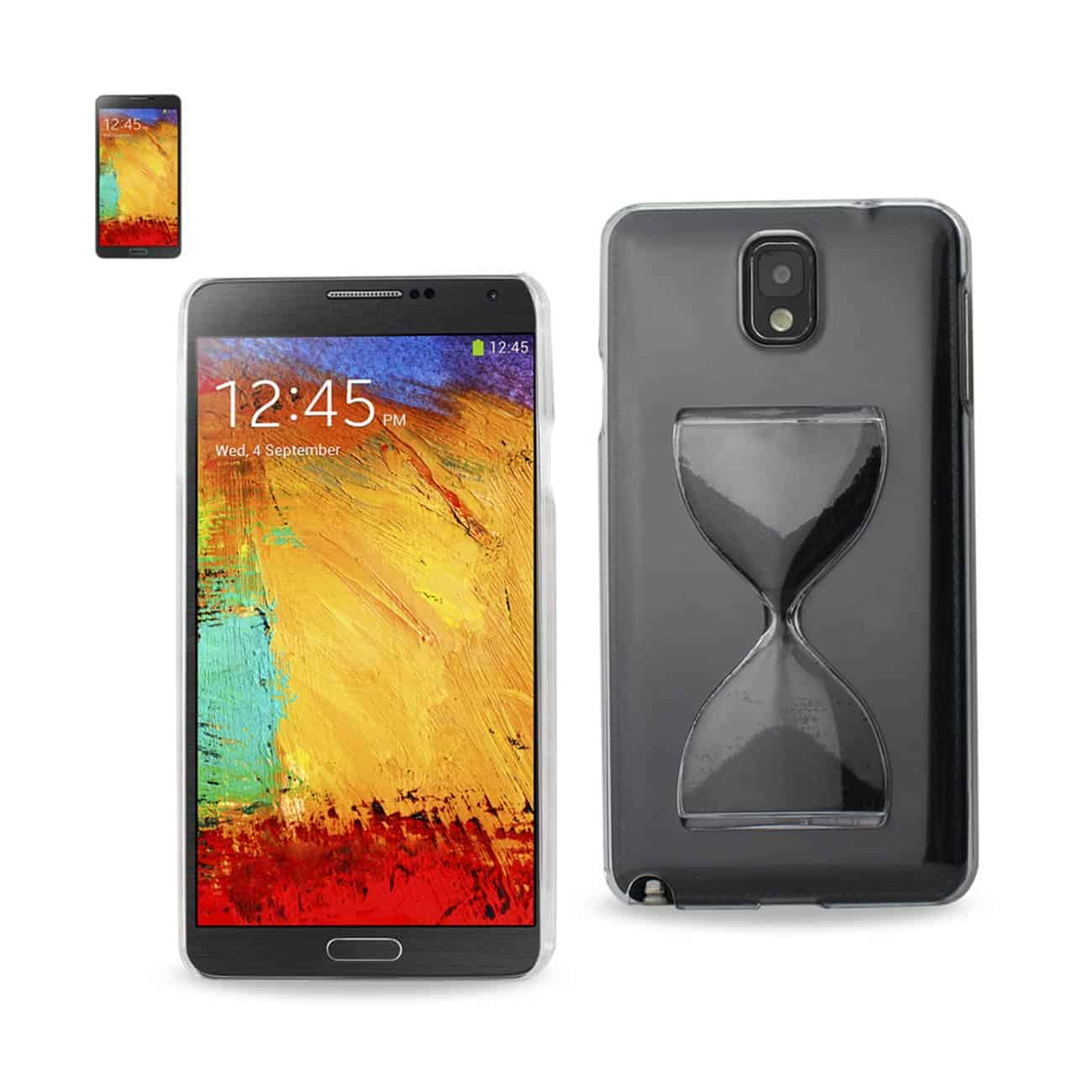 SAMSUNG GALAXY NOTE 3 3D SAND CLOCK CLEAR CASE IN BLACK