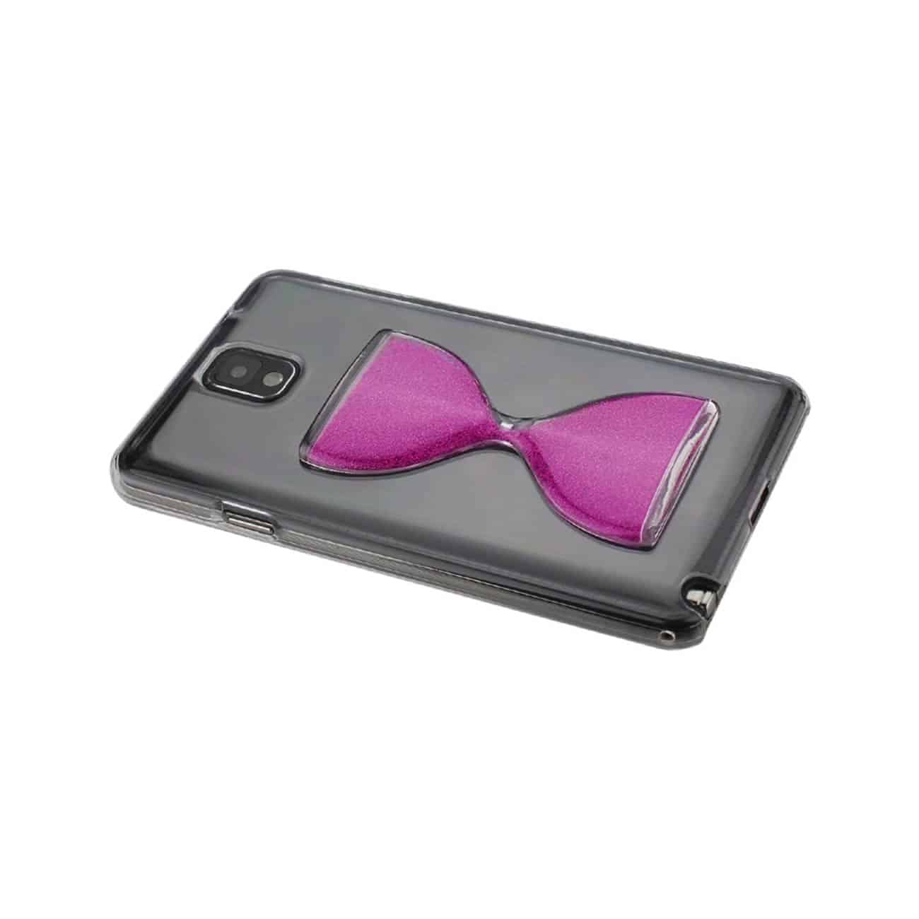 SAMSUNG GALAXY NOTE 3 3D SAND CLOCK CLEAR CASE IN HOT PINK