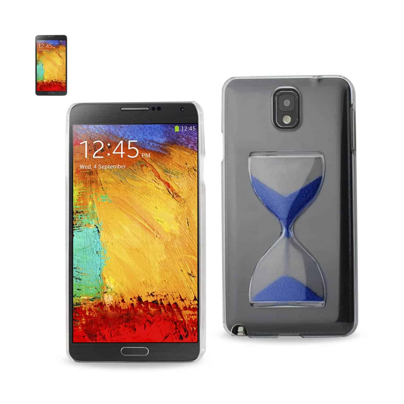 SAMSUNG GALAXY NOTE 3 3D SAND CLOCK CLEAR CASE IN NAVY