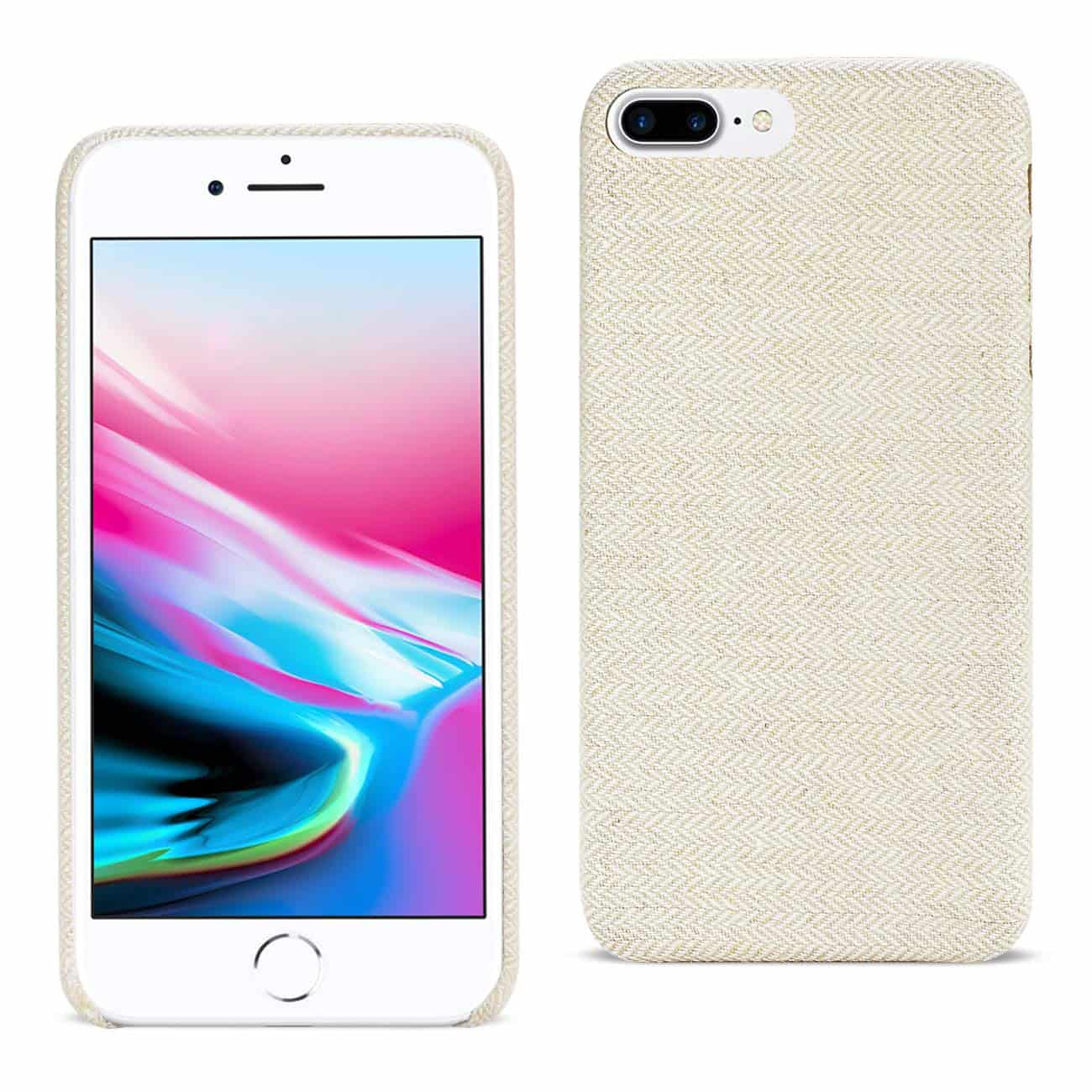 IPHONE 8 PLUS HERRINGBONE FABRIC IN BEIGE