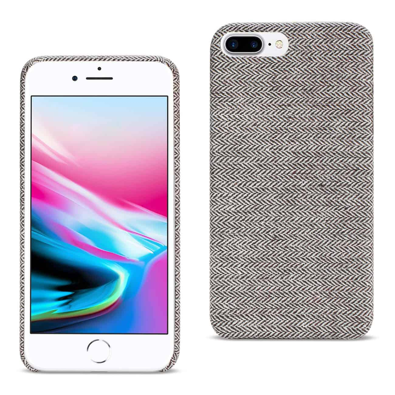 IPHONE 8 PLUS HERRINGBONE FABRIC IN DARK GRAY