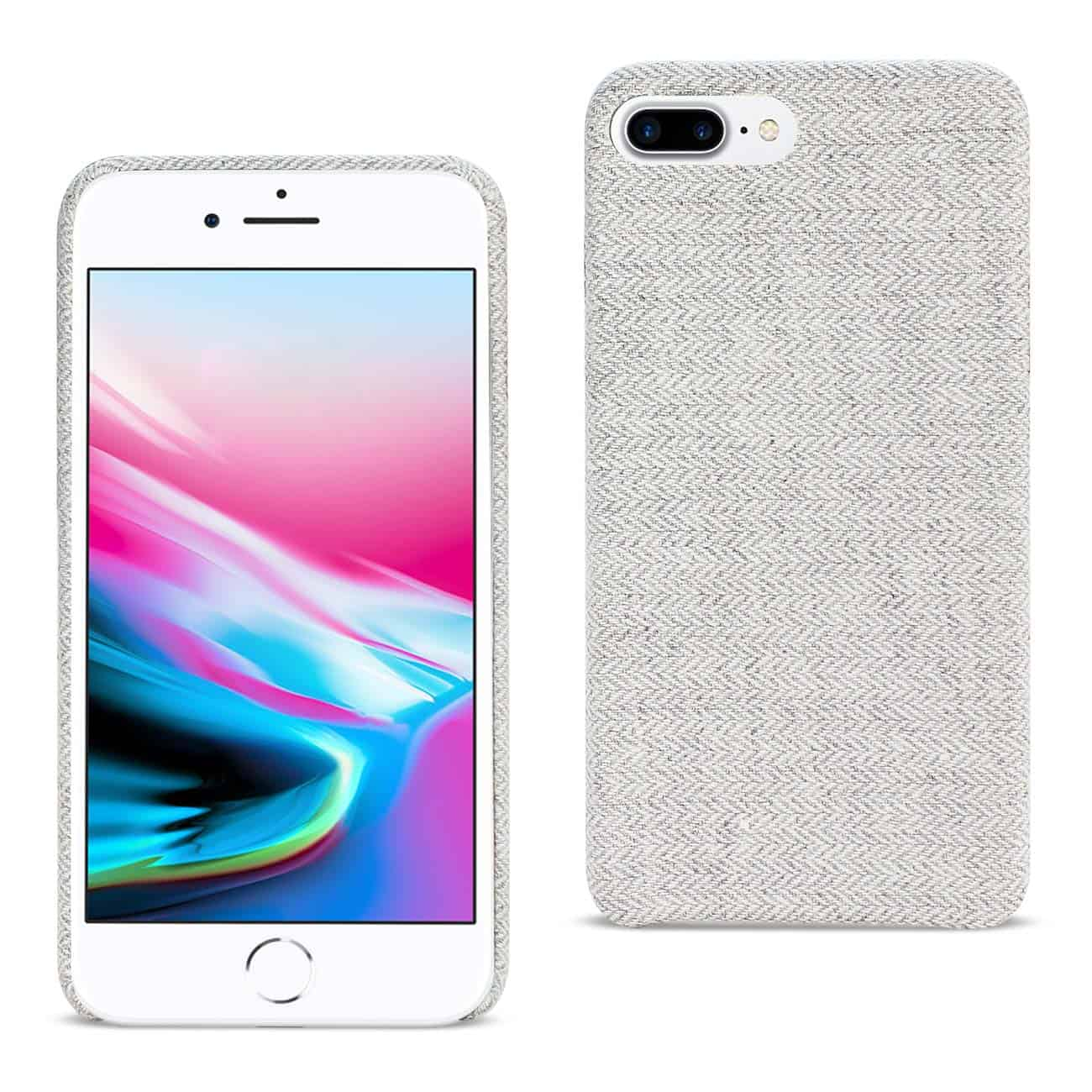 IPHONE 8 PLUS HERRINGBONE FABRIC IN LIGHT GRAY