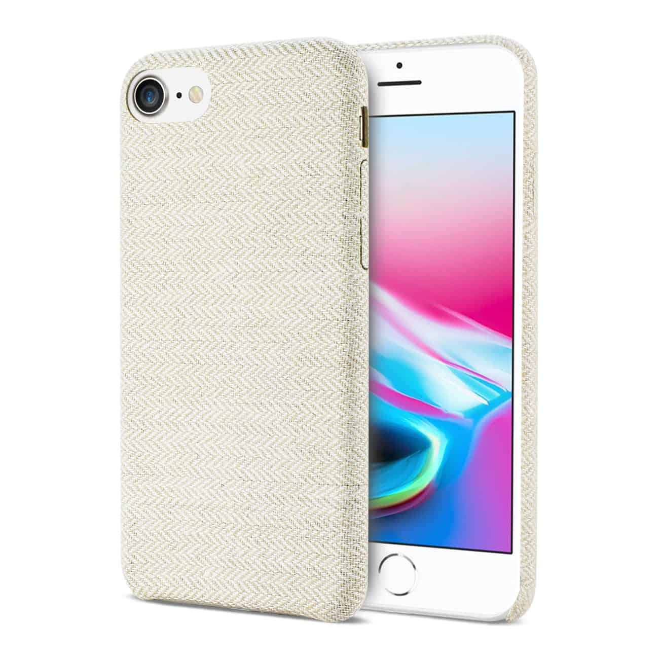 IPHONE 8 HERRINGBONE FABRIC IN BEIGE