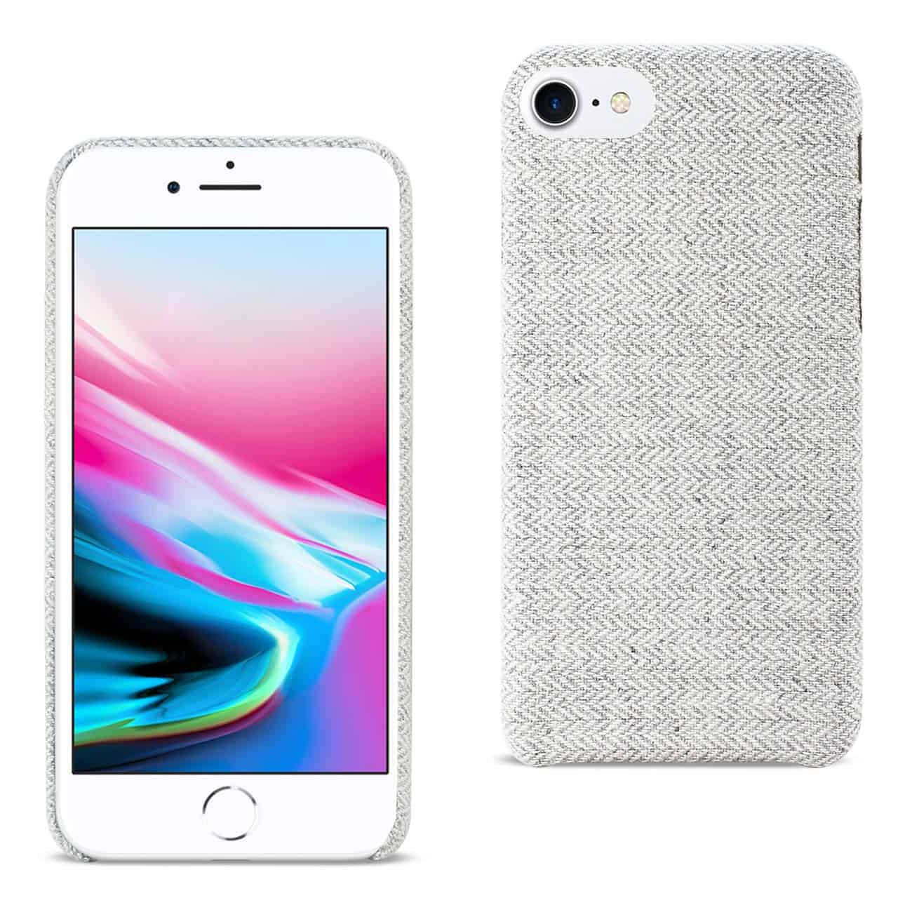 IPHONE 8 HERRINGBONE FABRIC IN LIGHT GRAY