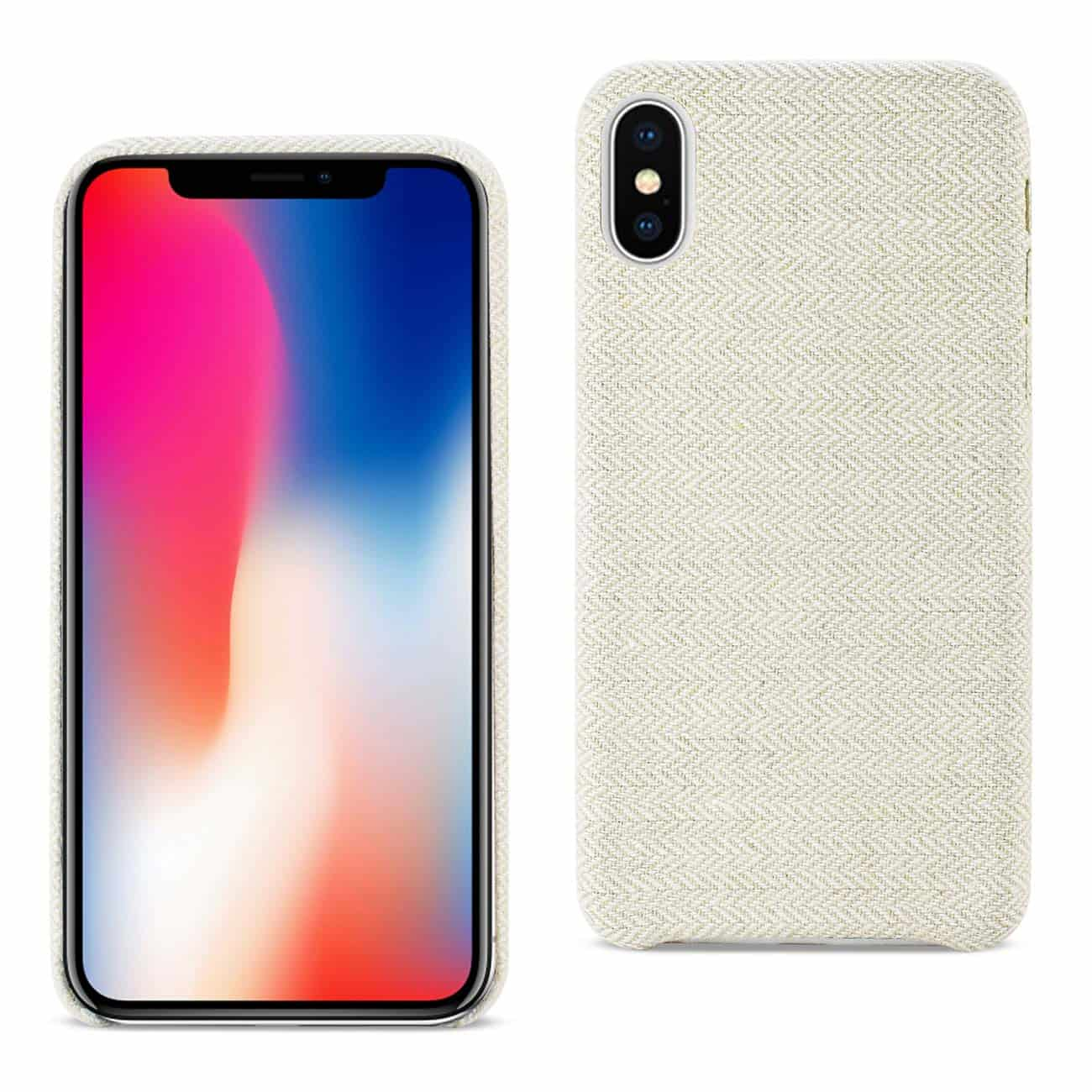 IPHONE X HERRINGBONE FABRIC IN BEIGE