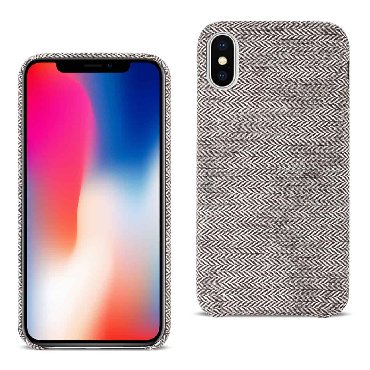 iPhone X Herringbone Fabric In Dark Gray