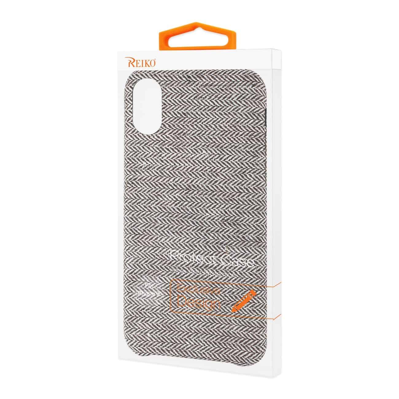 iPhone X Herringbone Fabric In Dark Gray