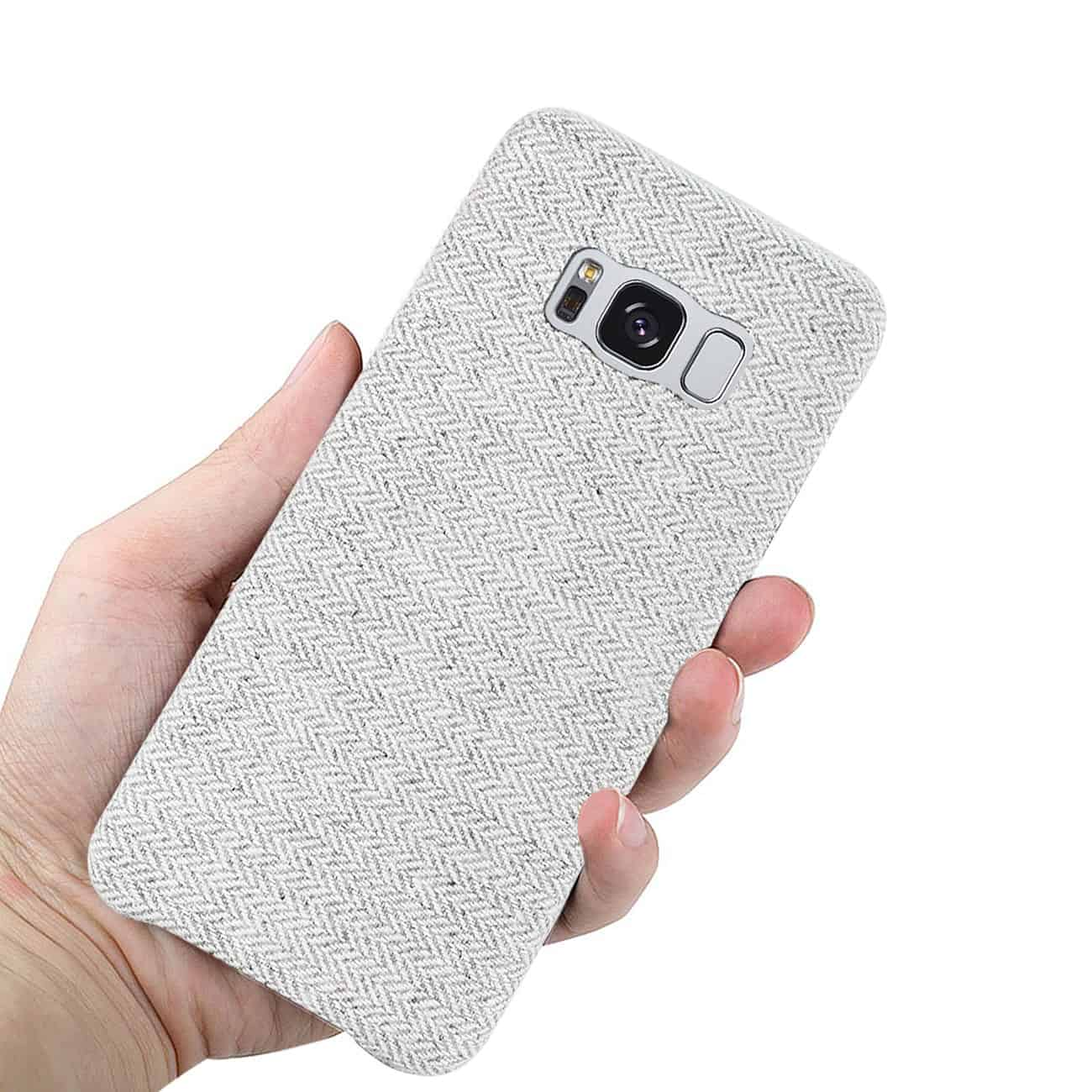 SAMSUNG GALAXY S8 EDGE HERRINGBONE FABRIC IN LIGHT GRAY