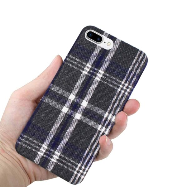 iPhone 8 Plus Checked Fabric In Black