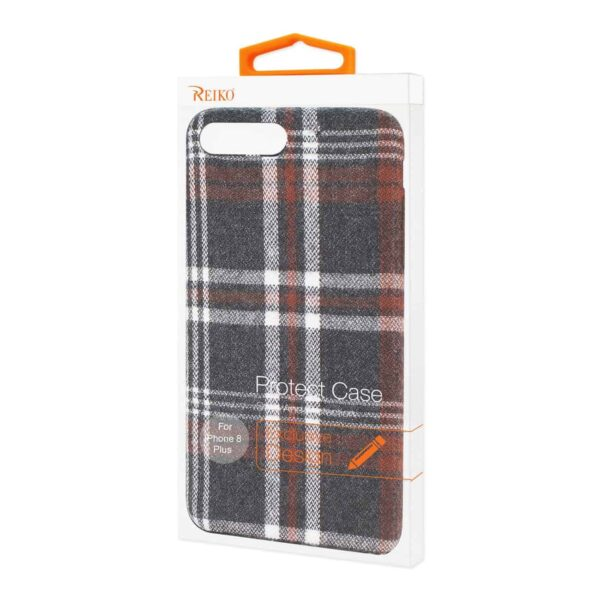 iPhone 8 Plus Checked Fabric In Brown
