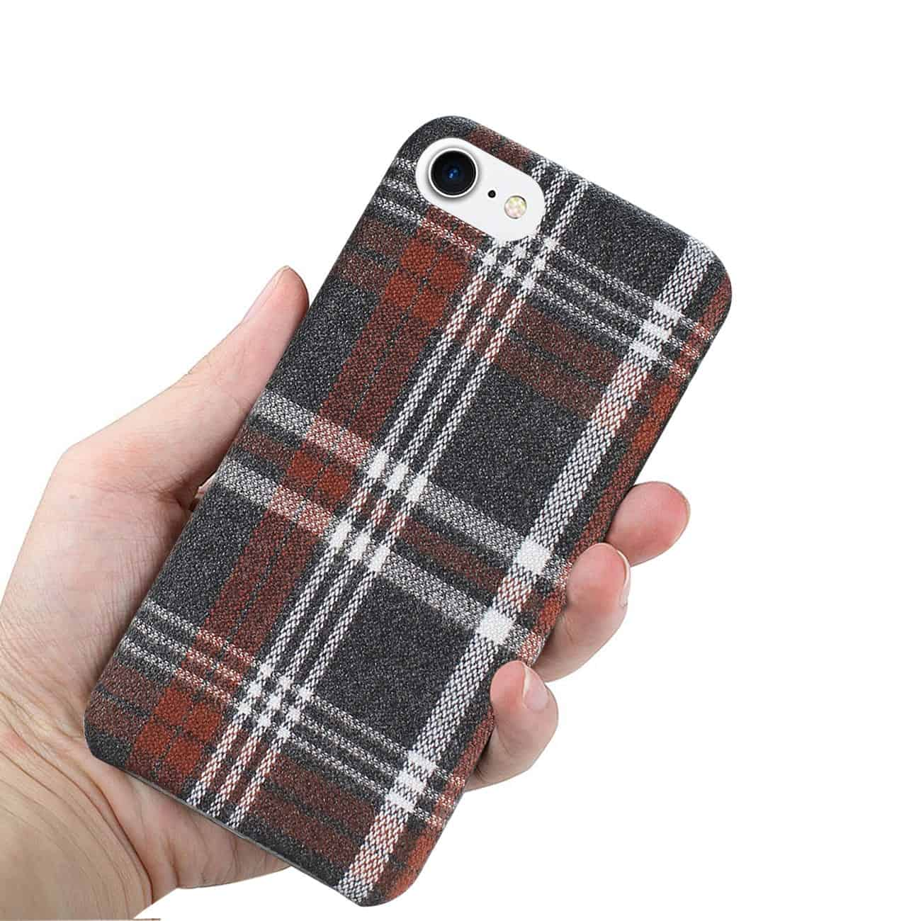 iPhone 8 Checked Fabric In Brown