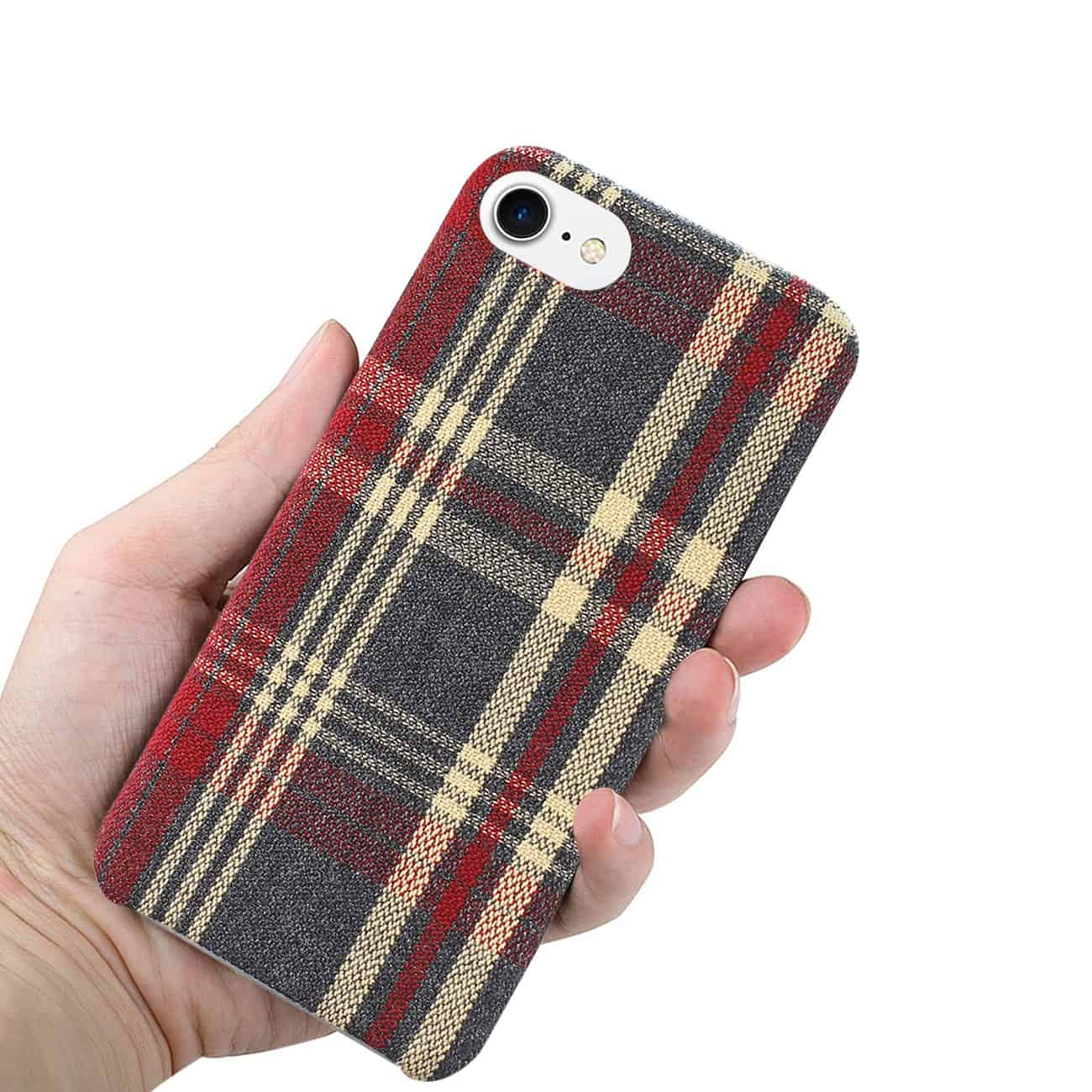 iPhone 8 Checked Fabric In Red