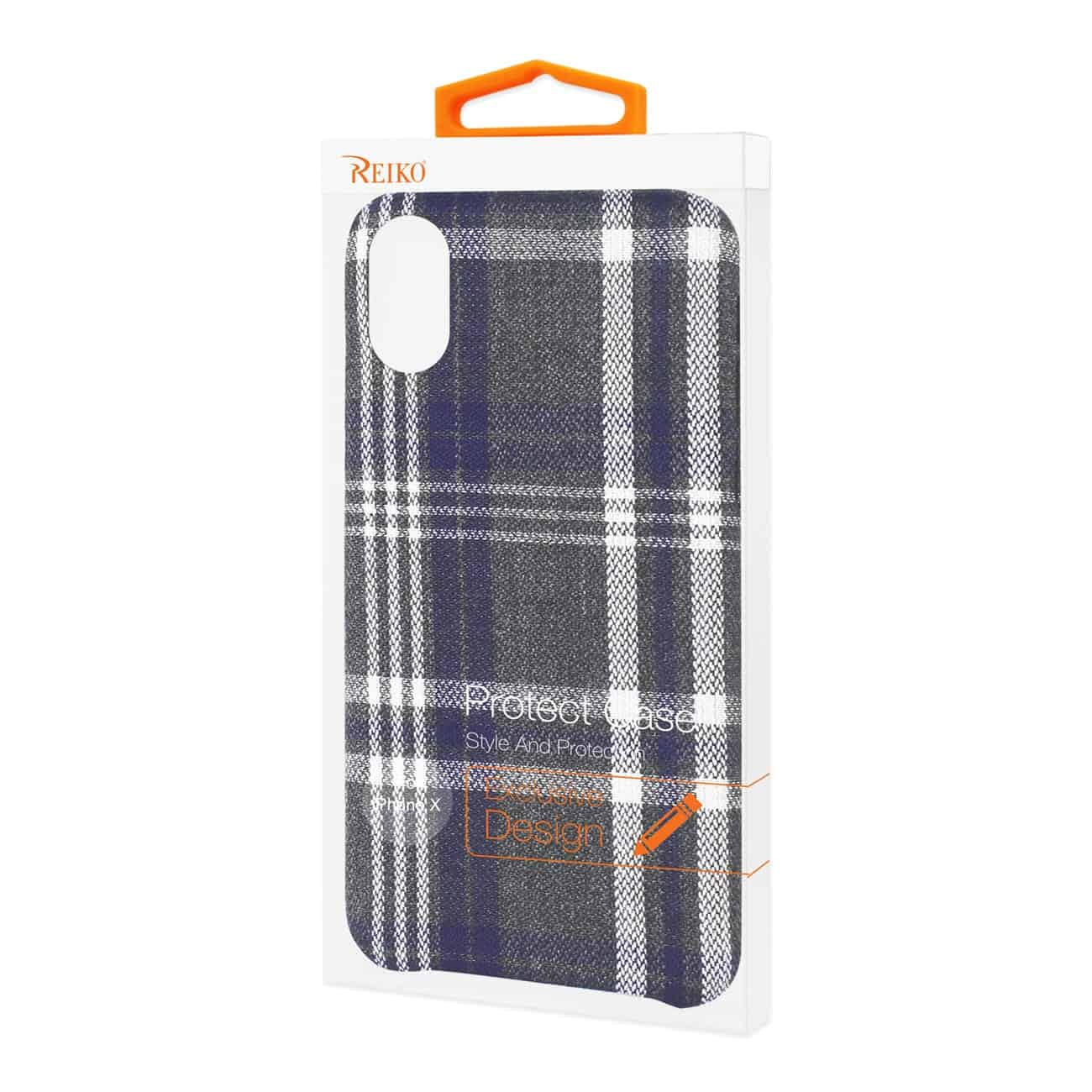 iPhone X Checked Fabric In Black