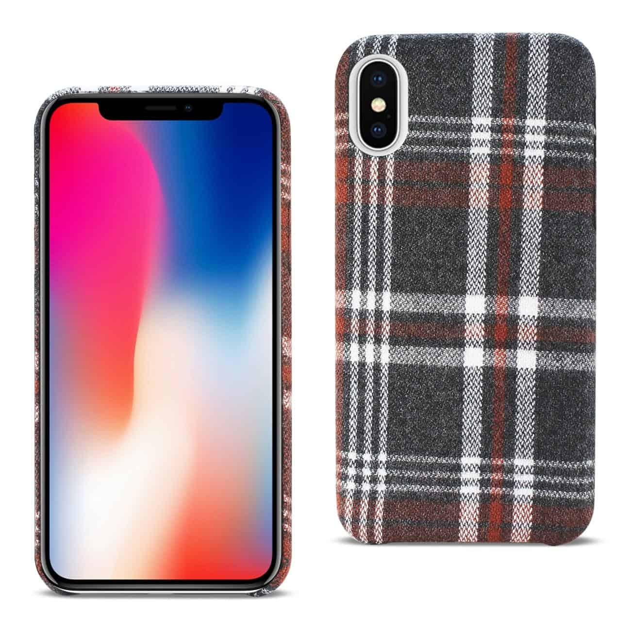iPhone X Checked Fabric In Brown