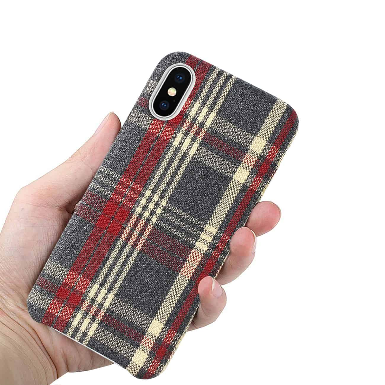 iPhone X Checked Fabric In Red