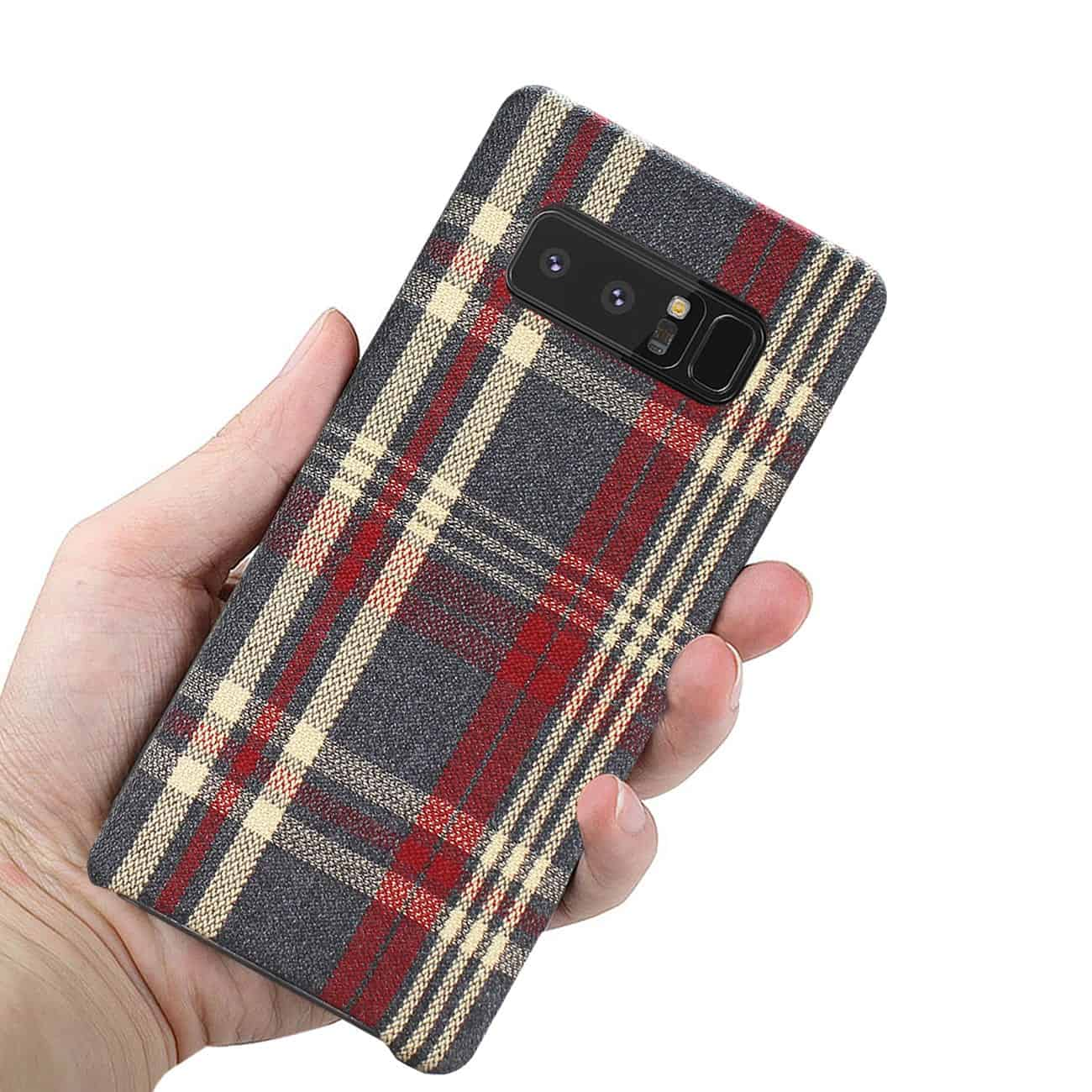 Samsung Galaxy Note 8 Checked Fabric In Red