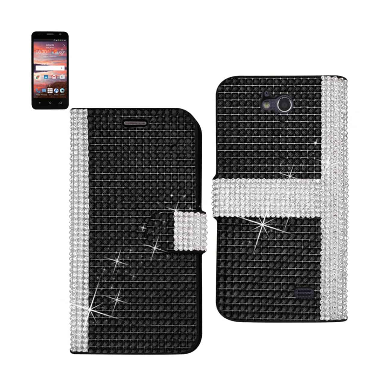 ZTE OVERTURE 2 JEWELRY DIAMOND RHINESTONE WALLET CASE IN BLACK