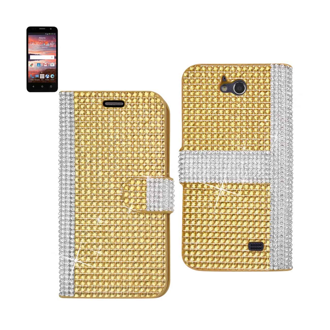 ZTE OVERTURE 2 JEWELRY DIAMOND RHINESTONE WALLET CASE IN GOLD