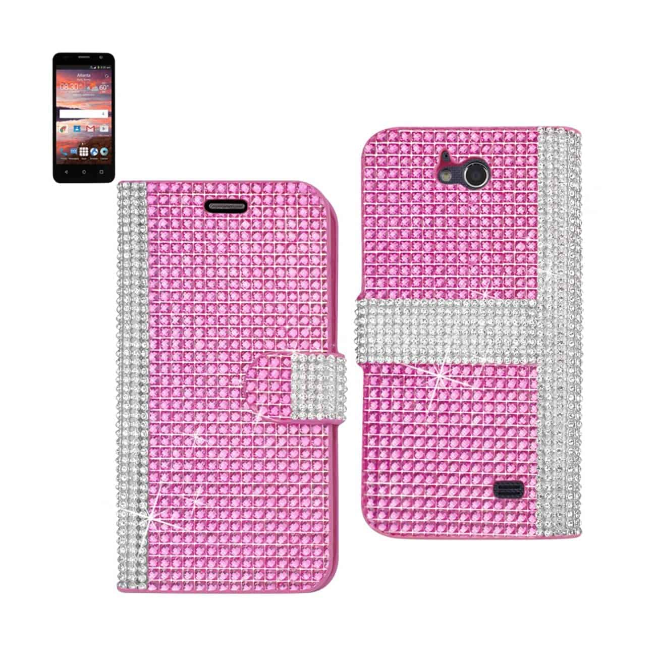 ZTE OVERTURE 2 JEWELRY DIAMOND RHINESTONE WALLET CASE IN PINK