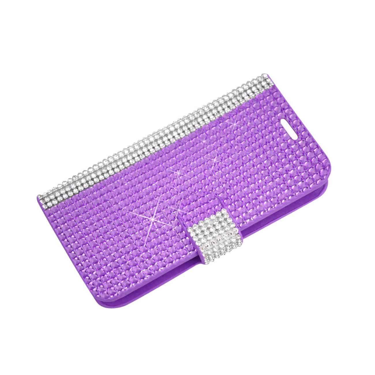 ZTE OVERTURE 2 JEWELRY DIAMOND RHINESTONE WALLET CASE IN PURPLE