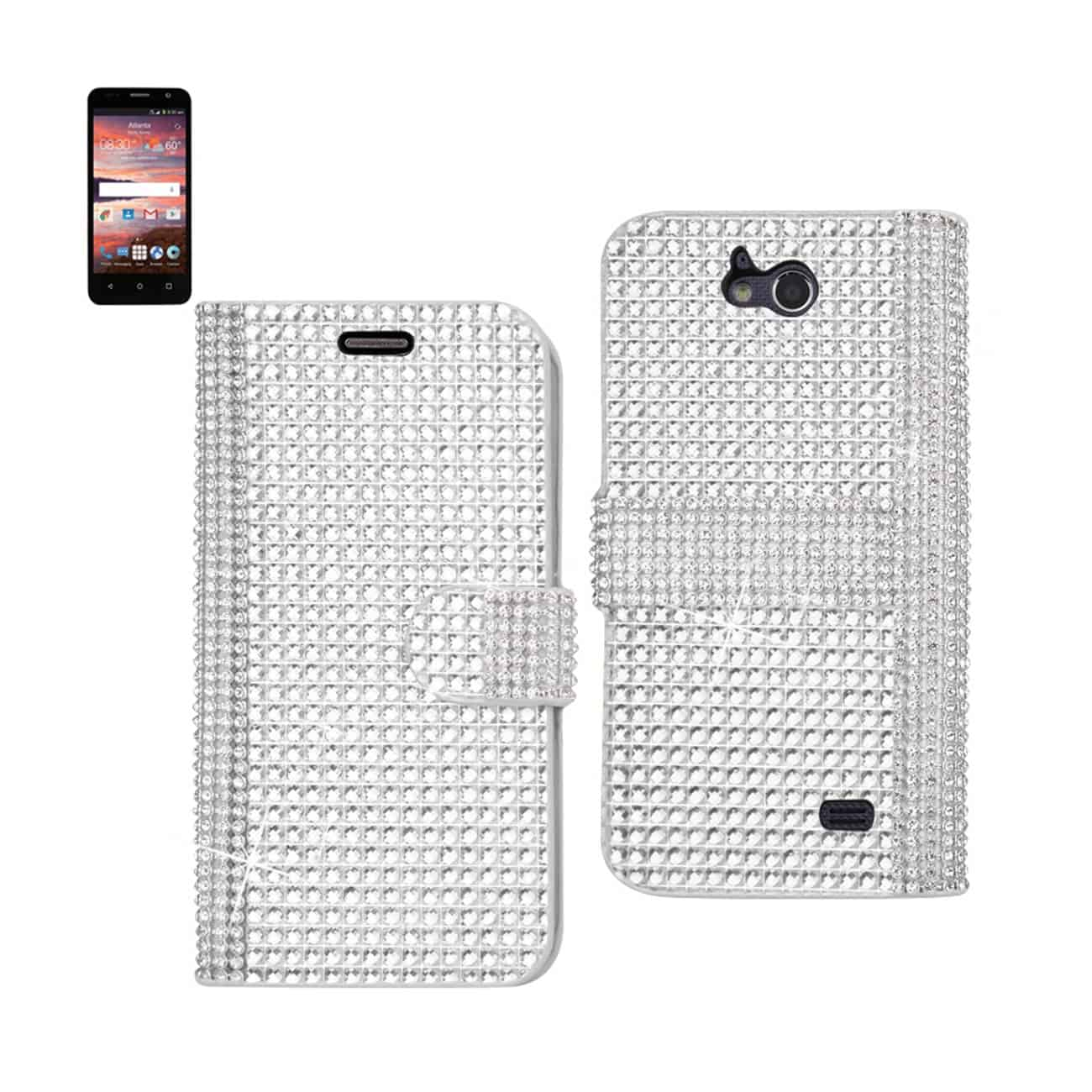 ZTE OVERTURE 2 JEWELRY DIAMOND RHINESTONE WALLET CASE IN SILVER