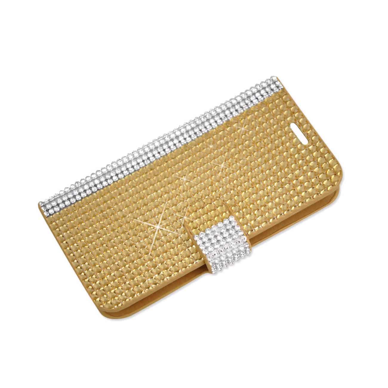 ZTE SONATA 2 JEWELRY DIAMOND RHINESTONE WALLET CASE IN GOLD